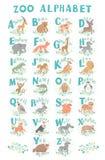 Alfabeto sveglio dello zoo di vettore Animali divertenti del fumetto lettere Impari leggere Fotografie Stock Libere da Diritti