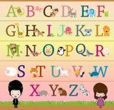 Alfabeto temático animal A - cartel de Z Fotografía de archivo libre de regalías