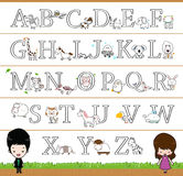 Alfabeto temático animal A - cartel de Z, imagen que colorea para los niños Imágenes de archivo libres de regalías