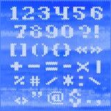 Alfabeto tricottato di vettore, lettere audaci bianche dei caratteri tipografici con grazie Parte 2 - numeri e punteggiatura Fotografia Stock Libera da Diritti