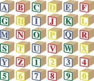 Alfabeto tridimensional y bloques numéricos del bebé fotografía de archivo libre de regalías