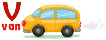 Alfabeto V con la furgoneta del coche Imagen de archivo libre de regalías