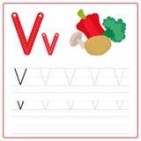 Alfabeto V de la tarjeta de la escritura Imágenes de archivo libres de regalías