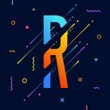 Alfabeto variopinto astratto moderno con progettazione minima Lettera R Fondo astratto con gli elementi geometrici luminosi fresc Immagine Stock