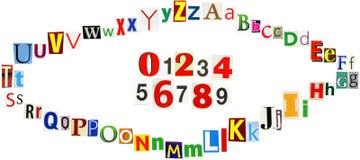 Alfabeto variopinto di clipings del giornale Fotografia Stock