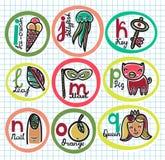 Alfabeto variopinto sveglio del fumetto dalla I a Q Fotografia Stock