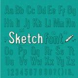 Alfabeto, vector y illuatrati del estilo del bosquejo del vintage Imagen de archivo