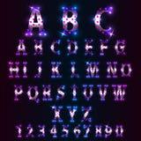 Alfabeto velho da lâmpada da iluminação brilhante Fotos de Stock