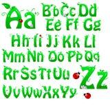 Alfabeto verde Imagen de archivo libre de regalías
