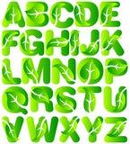 Alfabeto verde del foglio di ecologia Fotografia Stock Libera da Diritti