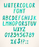 Alfabeto verde dell'acquerello Fotografie Stock Libere da Diritti