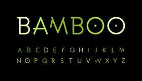 Alfabeto verde della natura Lo stile di bambù del ramo ha composto Fonte tropicale della foresta Foresta asiatica naturale, insie illustrazione vettoriale