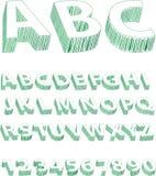 Alfabeto verde dello scarabocchio Fotografia Stock
