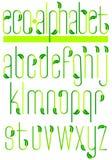 Alfabeto verde/ENV del foglio di ecologia Fotografia Stock