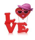 Alfabeto vermelho do amor e balão de ar do coração da tela Fotos de Stock