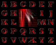 Alfabeto vermelho e fundo do código binário ilustração stock