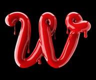 Alfabeto vermelho gotejante no fundo preto Letra cursivo escrita à mão W Foto de Stock