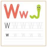 Alfabeto W de la tarjeta de la escritura Imágenes de archivo libres de regalías
