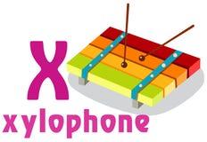Alfabeto X con il xylophone Fotografia Stock