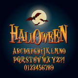 Alfabeto y dígito tridimensionales Vec de Halloween ilustración del vector