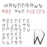 Alfabeto y dígitos dibujados mano Fuente geométrica pentagonal ABC Imagen de archivo