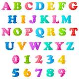 Alfabeto y números Fotos de archivo libres de regalías