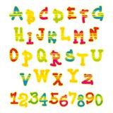 Alfabeto y números brillantes del vector Imagenes de archivo