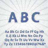 Alfabeto y números completos del Grunge Fotografía de archivo