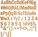 Alfabeto y números de madera Fotos de archivo libres de regalías