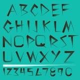 Alfabeto y números del vector fijados Foto de archivo
