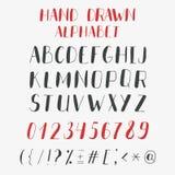 Alfabeto y números drenados mano Letras de ABC del vector Imagenes de archivo