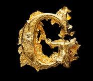 Alfabeto y números en hoja de oro áspera imágenes de archivo libres de regalías