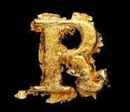 Alfabeto y números en hoja de oro áspera fotos de archivo libres de regalías