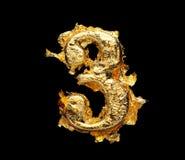 Alfabeto y números en hoja de oro áspera fotografía de archivo