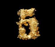 Alfabeto y números en hoja de oro áspera fotografía de archivo libre de regalías