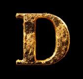 Alfabeto y números en hoja de oro imágenes de archivo libres de regalías