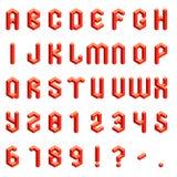 Alfabeto y números isométricos Fotografía de archivo