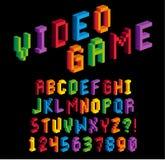 Alfabeto y números isométricos del pixel 3D Fotografía de archivo libre de regalías