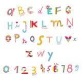 Alfabeto y números lindos stock de ilustración