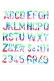 alfabeto y números pintados a mano Imagen de archivo libre de regalías