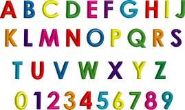 Alfabeto y números tridimensionales coloridos Fotografía de archivo libre de regalías