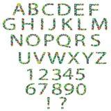 Alfabeto y números florales Foto de archivo