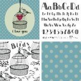 Alfabeto y pájaros del dibujo de la mano stock de ilustración