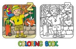 Alfabeto Z di ABC di professione del libro da colorare del custode di zoo Immagine Stock Libera da Diritti