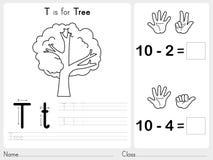 Alfabeto A-Z Tracing e folha do enigma, exercícios para crianças - livro para colorir Imagens de Stock Royalty Free