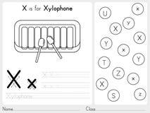 Alfabeto A-Z Tracing e folha do enigma, exercícios para crianças - livro para colorir Imagens de Stock