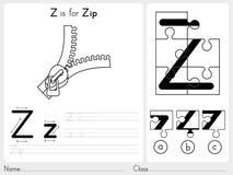 Alfabeto A-Z Tracing y hoja de trabajo del rompecabezas, ejercicios para los niños - libro de colorear Fotografía de archivo libre de regalías