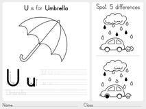 Alfabeto A-Z Tracing y hoja de trabajo del rompecabezas, ejercicios para los niños - libro de colorear Imagen de archivo libre de regalías