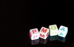 Alfabetos cúbicos PMQA Fotos de Stock Royalty Free