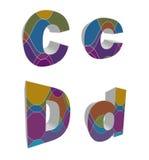 alfabetos cobardes retros 3D Imagen de archivo libre de regalías